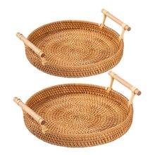 Platters-Plate Serving-Tray Food-Storage Rattan Handwoven Breakfast Round Over-Handles