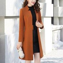 Зимнее пальто женское модное тонкое пальто женское повседневное Средний длинный тонкий пальто шерстяное пальто женское Пальто Moda Feminina