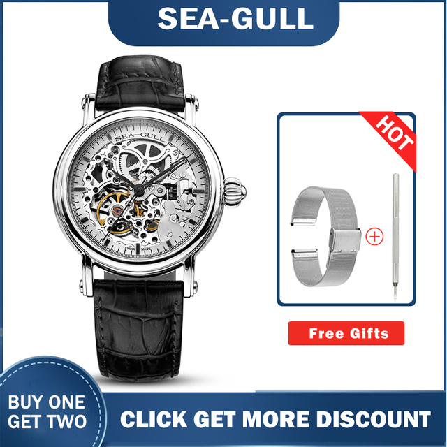 Seagull watch MAN m182sk Automatic Mechanical women's Watch Self Winding Power Reserve Flywheel red band red needle 3