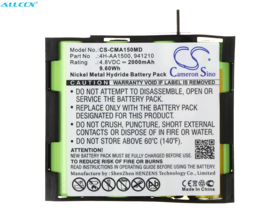 Cameron Sino 2000mAh Battery 4H-AA1500, 941210 For Compex Mi, MI-Fitness, Mi-Sport, Performance Mi-ready, Performance US