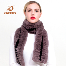 ZDFURS* 2019 New Style Stripe Pattern Real Natural Rex Rabbit Fur Scarf Neck Warmer Wraps Muffler Shawl Scarves long style