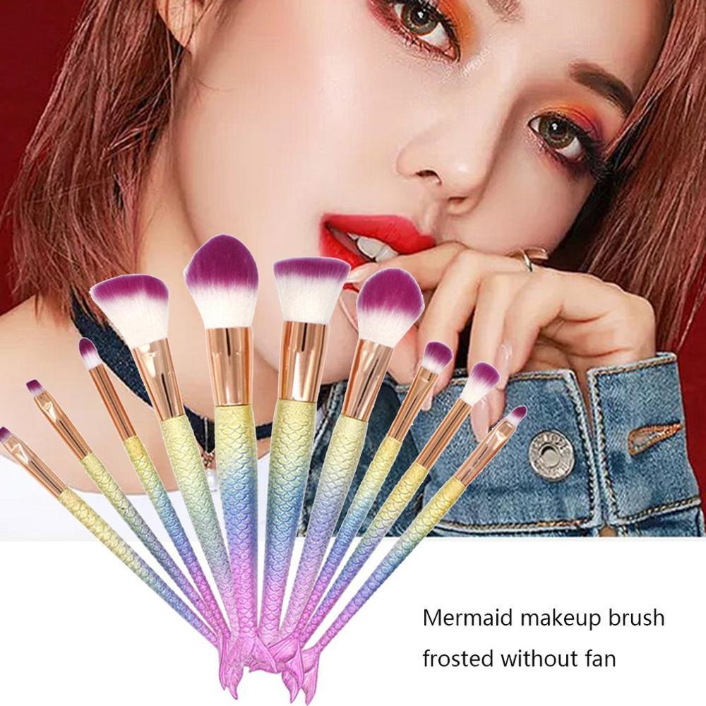 Lightweight 10 Mermaid Makeup Brushes Fishtail Set Facial Beauty Beauty Tools Beauty Essentials