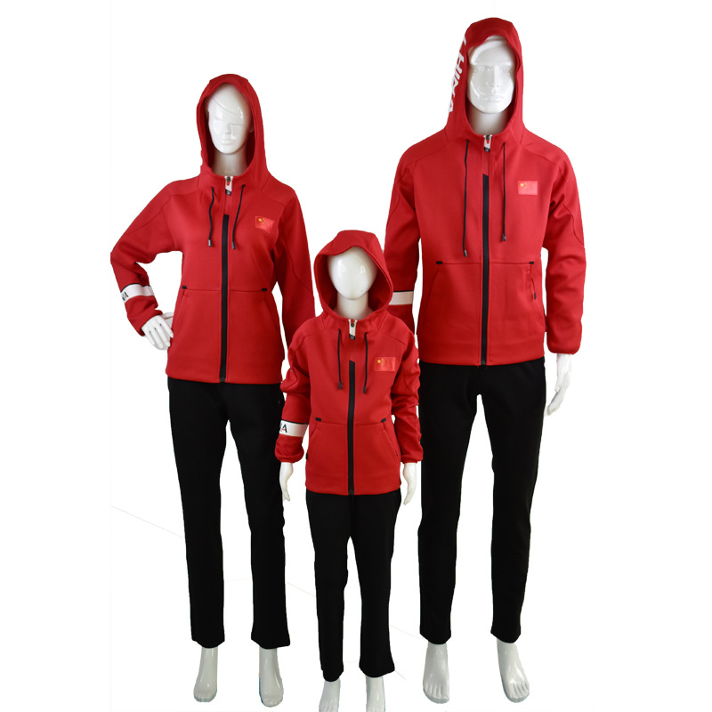 Chinese Team Hooded Sports Set Men And Women Sports Clothing Uniform Group Clothes Couples Parent And Child Instructor Coat Scho