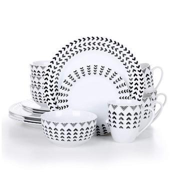 VEWEET Campton 16-Piece Porcelain Ceramic Tableware Dinner Plate Set with Dinner Plate,Dessert Plate,Cereal Bowl and 380ML Mug