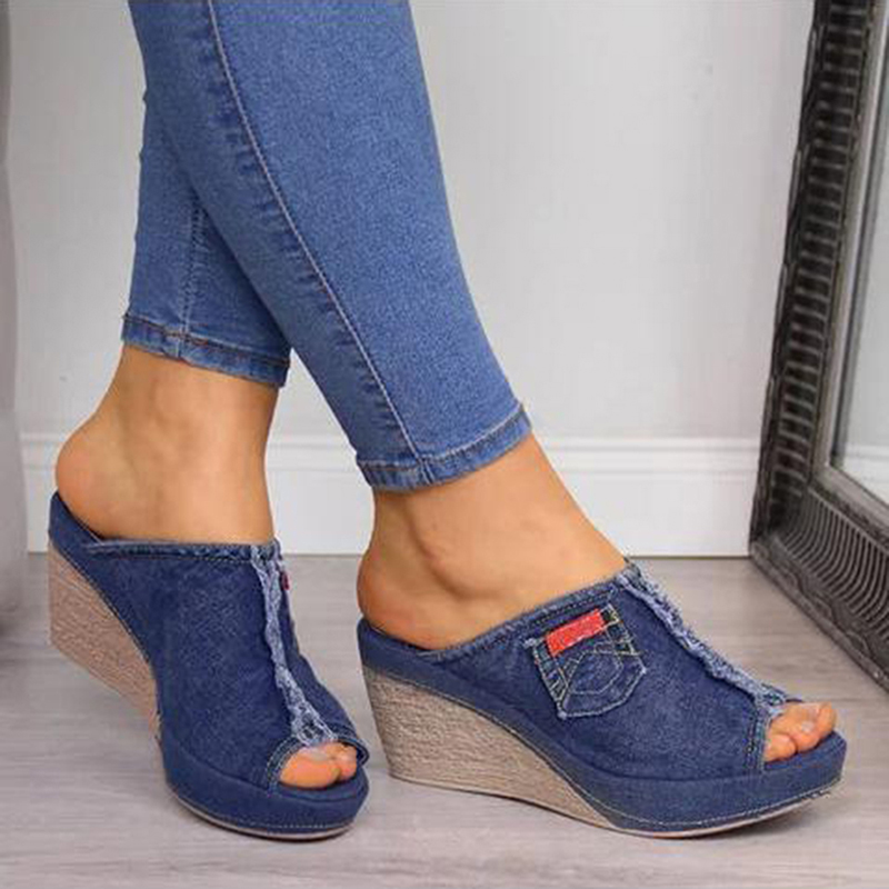 Summer Ladies Shoes With Heels Stylish Womens Blue Cowboy Comfortable Open-Toe Shoes Wedges Platform Open Sandals Slipper