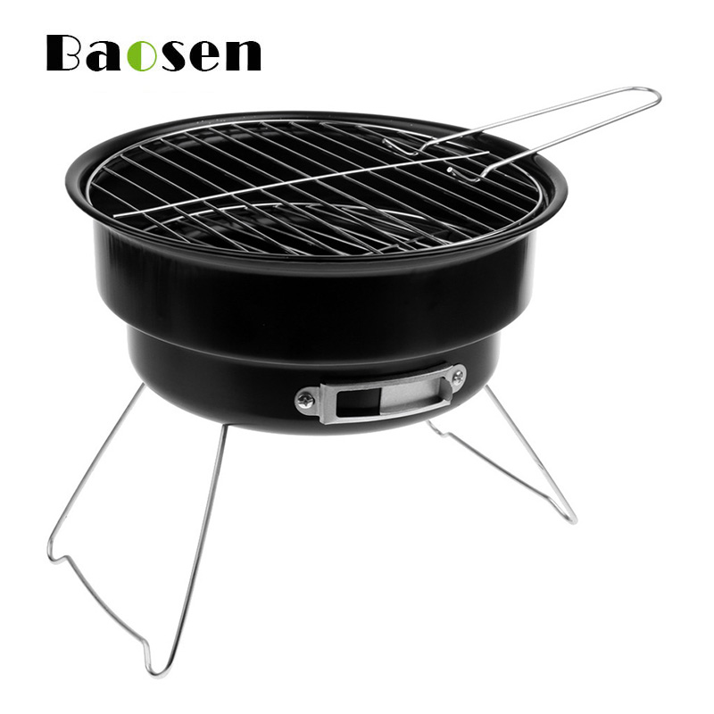 Baosen Portable BBQ Grill Non-stick Surface Folding Barbecue Charcoal Grill Mini Round Outdoor Camping Picnic BBQ Tool