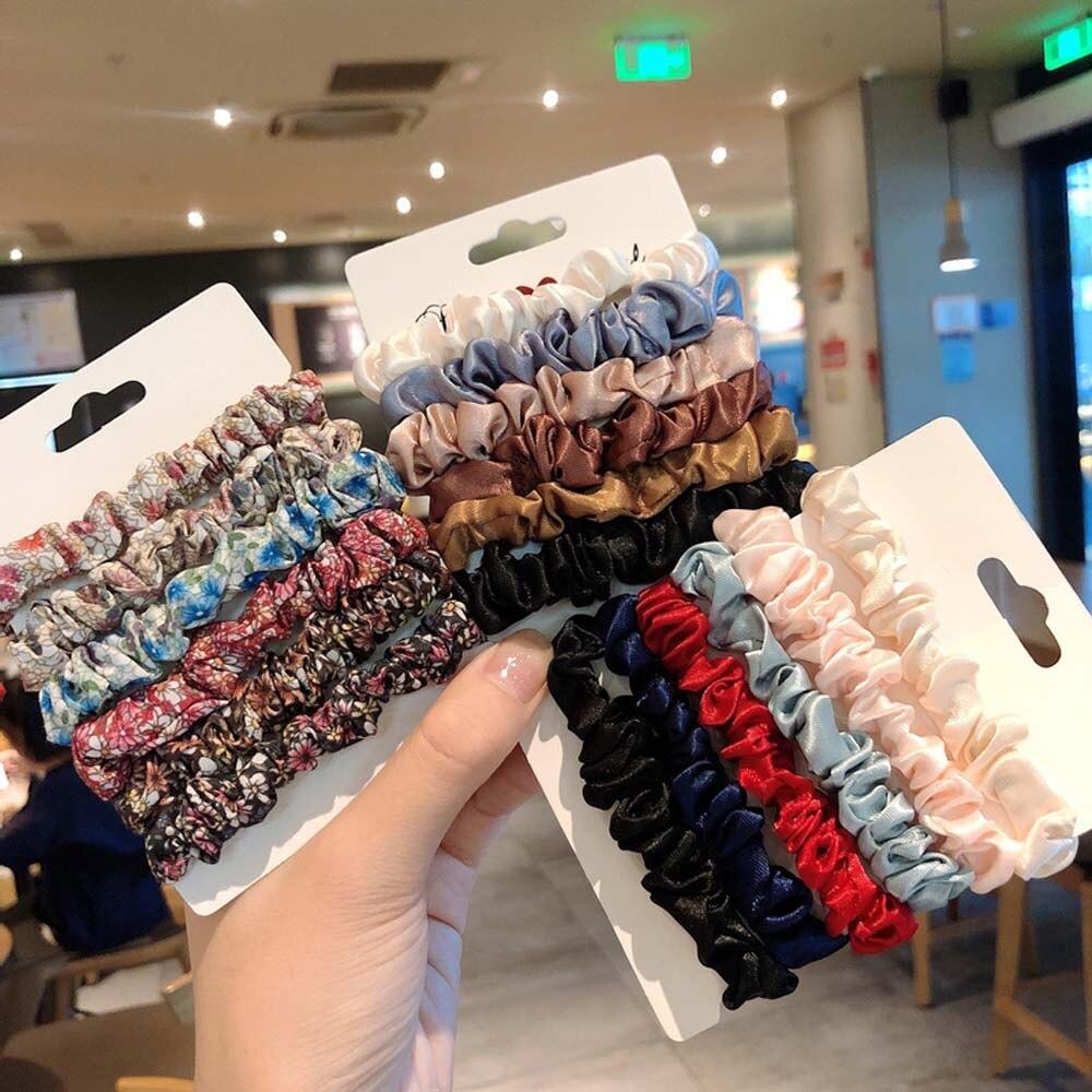 1set Fashion Women Elegant Silk Velvet Elastic Hair Band Rope Ring Scrunchie Ponytail Holder Rubber Bands Hair Accessories