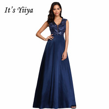 Its Yiiya Evening Dress Elegant Sequin Lace Women Party Dresses Plus Size Hollow Robe De Soiree V-neck Formal Gown C549
