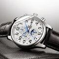 Reloj mecánico automático multifunción de mano azul de carnaval, reloj de negocios de lujo de marca, caja de acero inoxidable, reloj deportivo