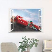 3d effect disney cars window wall decals bedroom home decor cartoon lightning mcqueen stickers pvc mural art diy posters