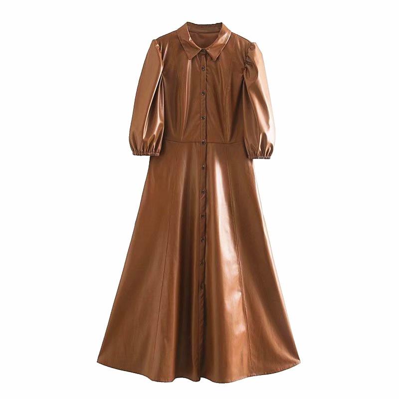 Women Stylish PU Leather Midi Shirt Dress Puff Sleeve Lapel Front Button Pocket Female Elegant Pleated Hem Long Dresses Vestidos