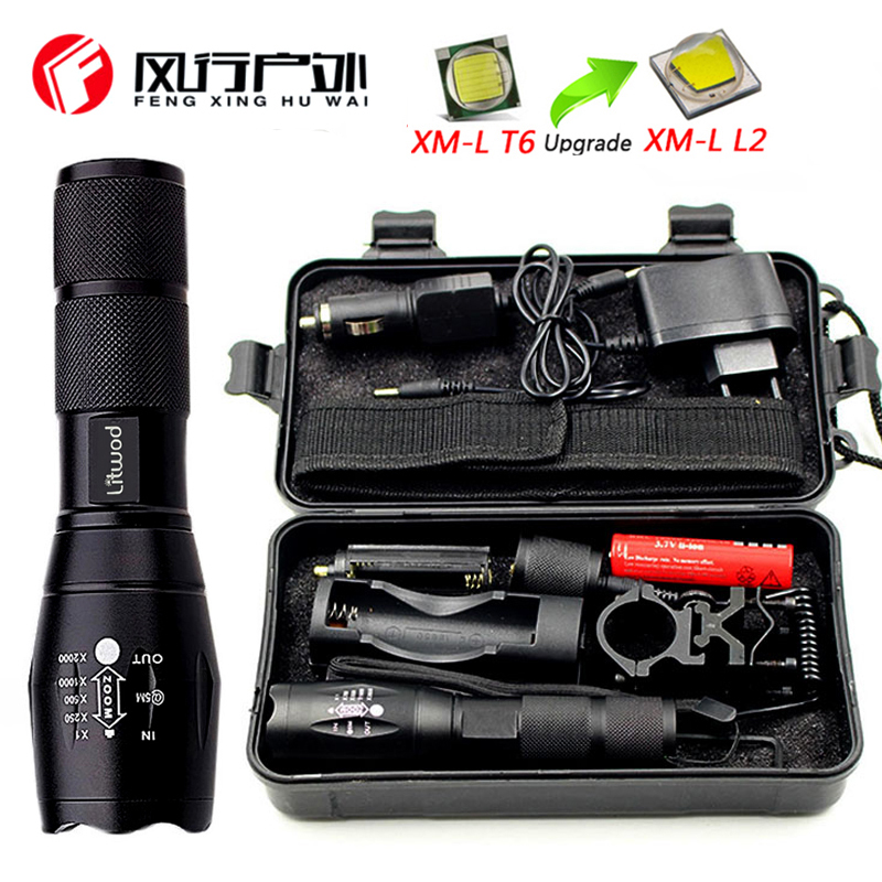 FX-DZ50A100 Hunting Light LED Flashlight Lighting T6 5000Lm Zoomable Torch Lantern Portable Light Remote Switch Charger Tool Box