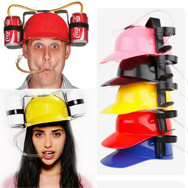Sombrero de minero para fiesta de cumpleaños con gorro de paja perezoso, soporte de juguete único, para beber cerveza Coca Cola, Coca Cola, Soda