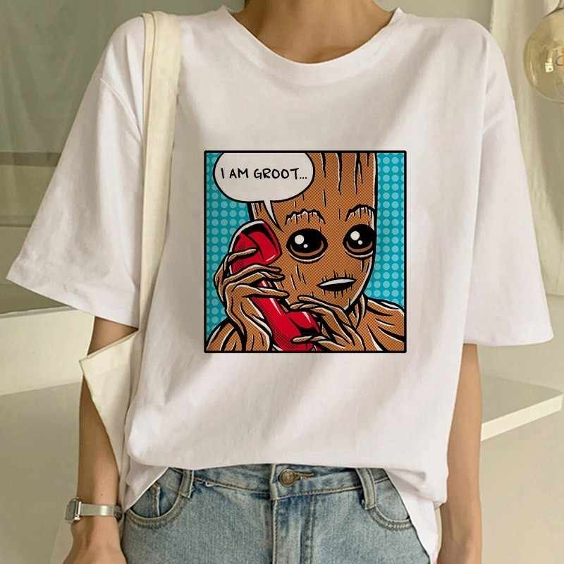 Showtly Estetika T Shirt Wanita Guardians Of The Galaxy Anime Kawaii Groot Musim Panas Lucu Aku Groot T Shirt Keren tee Atasan
