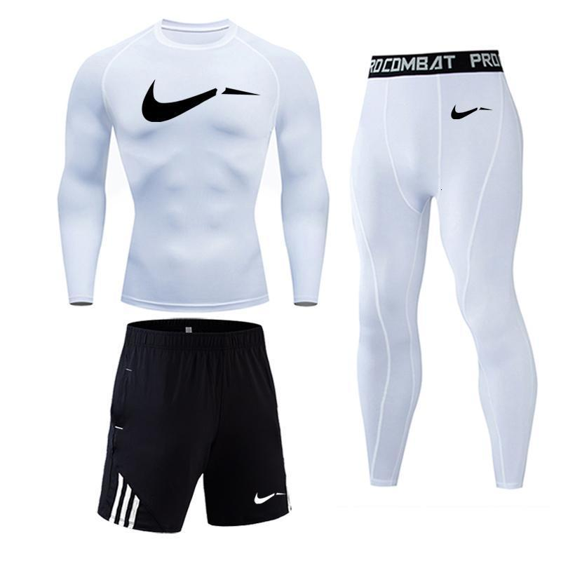 New Mens Running Sport Compression T Shirts Pants Suits Jogging Tracksuit Male Gym Fitness MMA Sportswear Set Tee Shirt Leggings