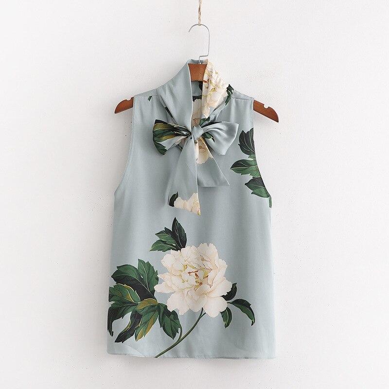 2019 Bow-tie Flower Print Shirt Vadiming Sheining Zaraing Women Blouse Kimono