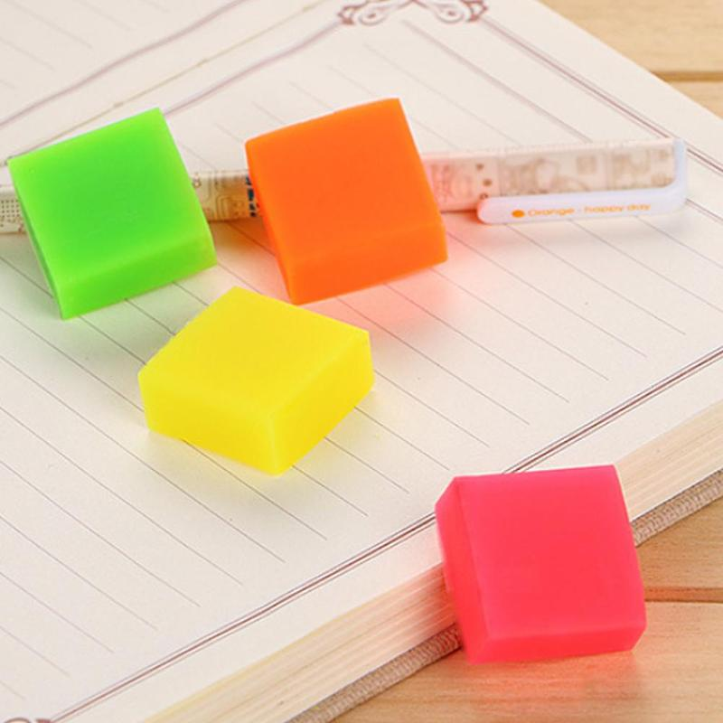 1pc Cute Kawaii Candy Color Erasers Lovely Mini Positive Eraser Square Stationery For Kids Creative Novelty Gift Pencil Gif A2A9