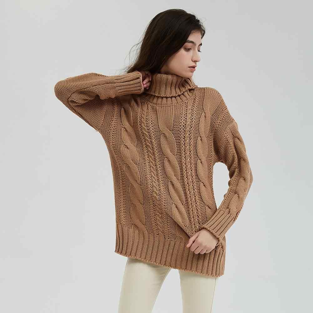 Wixra ใหม่ Chunky ผู้หญิงเสื้อกันหนาวฤดูใบไม้ร่วงฤดูหนาวของแข็งถักเสื้อกันหนาวจัมเปอร์หลวมเสื้อกันหนาว