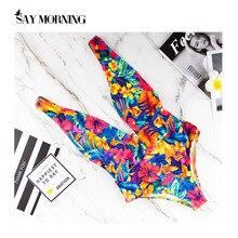 زي سباحة من قطعة واحدة لامع من نوع SAY الصباح بيكيني مثير بدون ظهر ملابس شاطئ للسيدات للسباحة والاستحمام