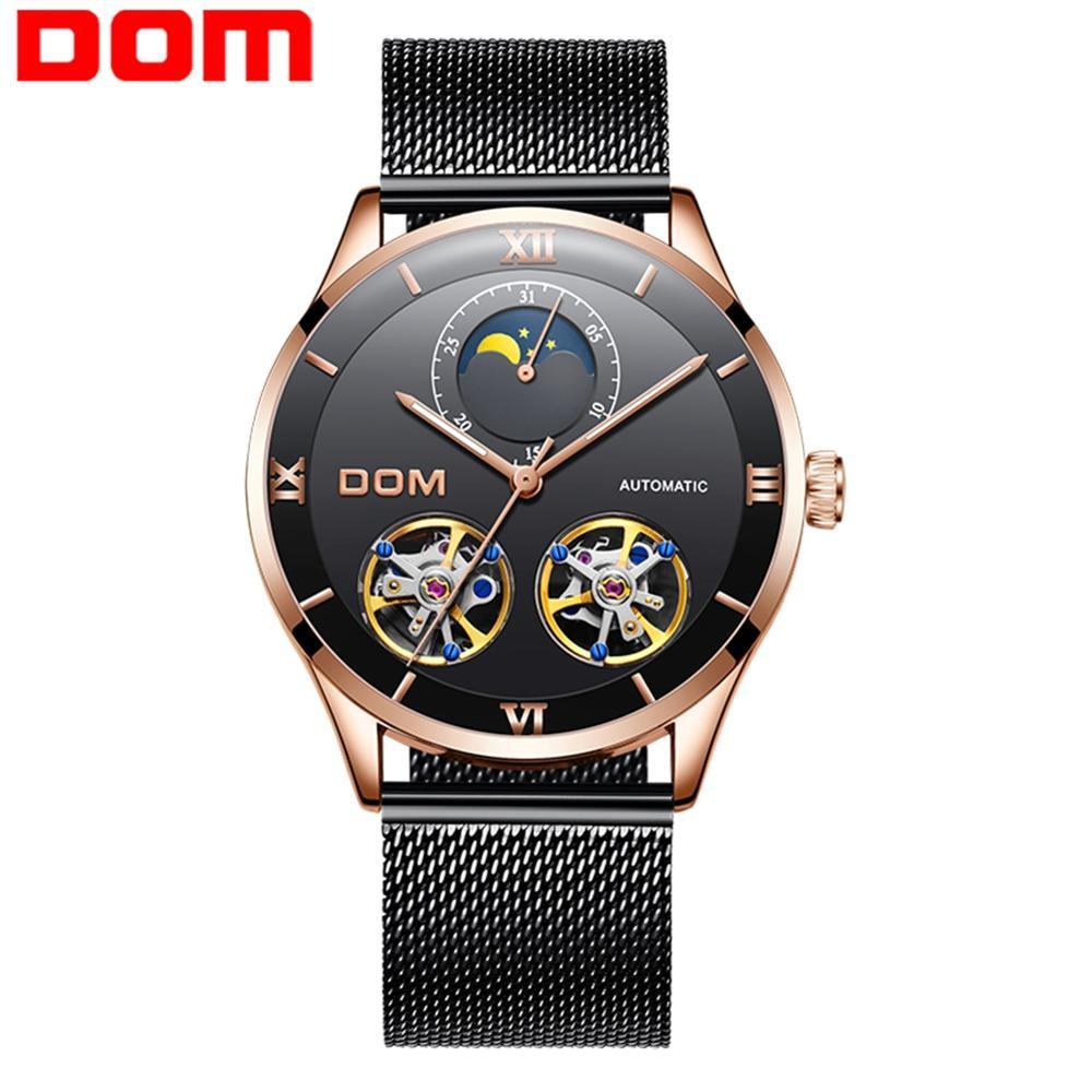 DOM Men Watches Fashion Design Skeleton Sport Mechanical Watch Moon Phase Transparent Steel Bracelet Luxury Male Clock M-1270GK-