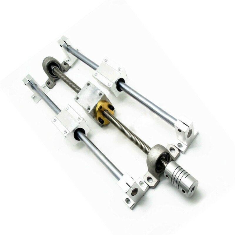 Eixo horizontal 150/250/350mm t8 duplo trilho haste de parafuso de ligação suporte de acoplamento linear rolamentos guia guia guia parafuso de chumbo conjunto