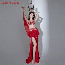 Belly Dance Bra Or Skirt Diamond-Studded Top Tassel Drill Split Long Skirt Performance Clothes Woman Oriental Dancing Clothing