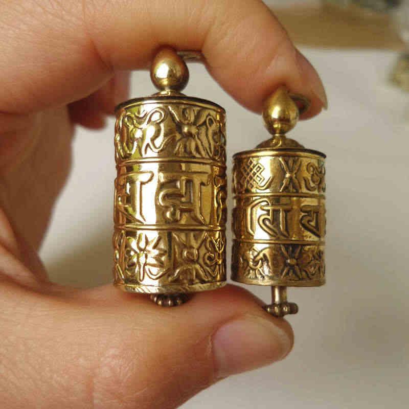 TGB055 ทิเบต Golden พระคัมภีร์ล้อ Prayer กล่องจี้ทิเบต Mani หกคำ Mantras Babao Amulet lockets