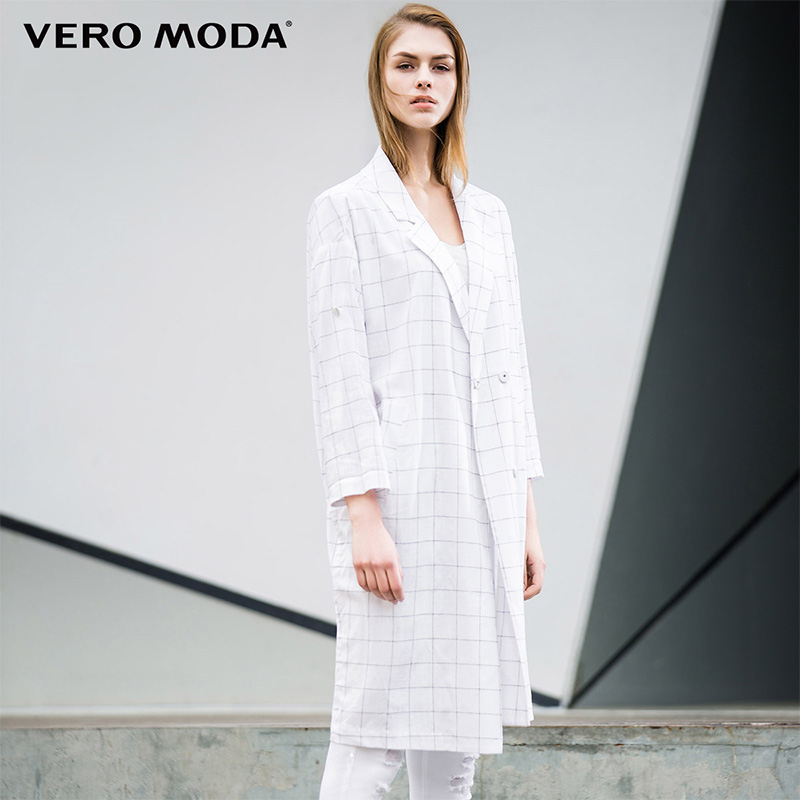 Vero Moda Brand 2019 NEW Cotton Three Quarter Sleeve Long Double Breasted Thrench Plaid Turn-down Collar Women Suit| 316108028
