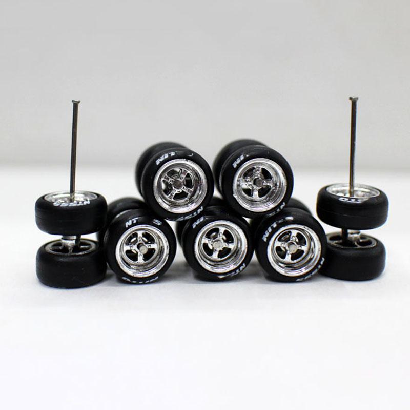 4 Pcs/set 1:64 Tyre Model Tire Diecasts Alloy Rubber Wheel Gears Toy Vehicles General Model For Car Change Accessories
