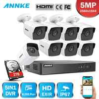 ANNK H.265+ 5MP Lite Ultra HD 8CH DVR CCTV Security System Outdoor 5MP EXIR Night Vision Camera Video Surveillance Kit