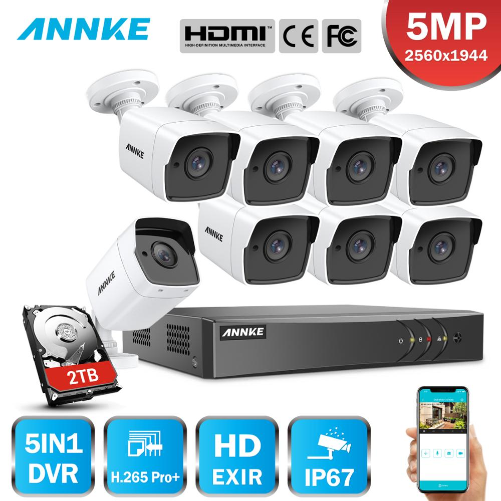 ANNK H.265+ 5MP Ultra HD 8CH DVR CCTV Security System Outdoor 5MP EXIR Night Vision Camera Video Surveillance Kit