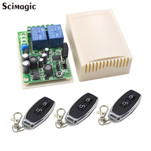 433 MHz AC 110V 220V Wireless 2CH RF Transmitter Remote Control Switch + RF Relay Receiver For Light Garage Door Opener(China)