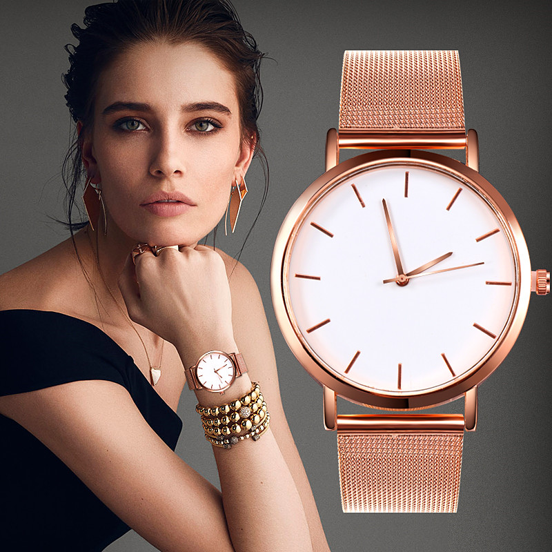 Women Couple Mesh Stainless Steel Strap Woman Hand Watch Gold Ladies Wrist Watch Wrist Casual Quartz Clock Relogio Feminino D7