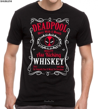 DEADPOOL WHISKY T-SHIRT - ANTIHERO DRINKING MASH UP BLACK TOP Sizes S - 5XL Cool Casual pride t shirt men Unisex New sbz3143