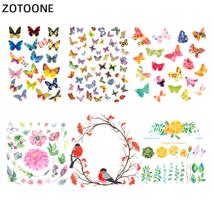 ZOTOONE Beautiful Flower Heat On Transfer Clothing Stickers Butterfly Iron on Patches for Kids Clothes Washable Appliques E