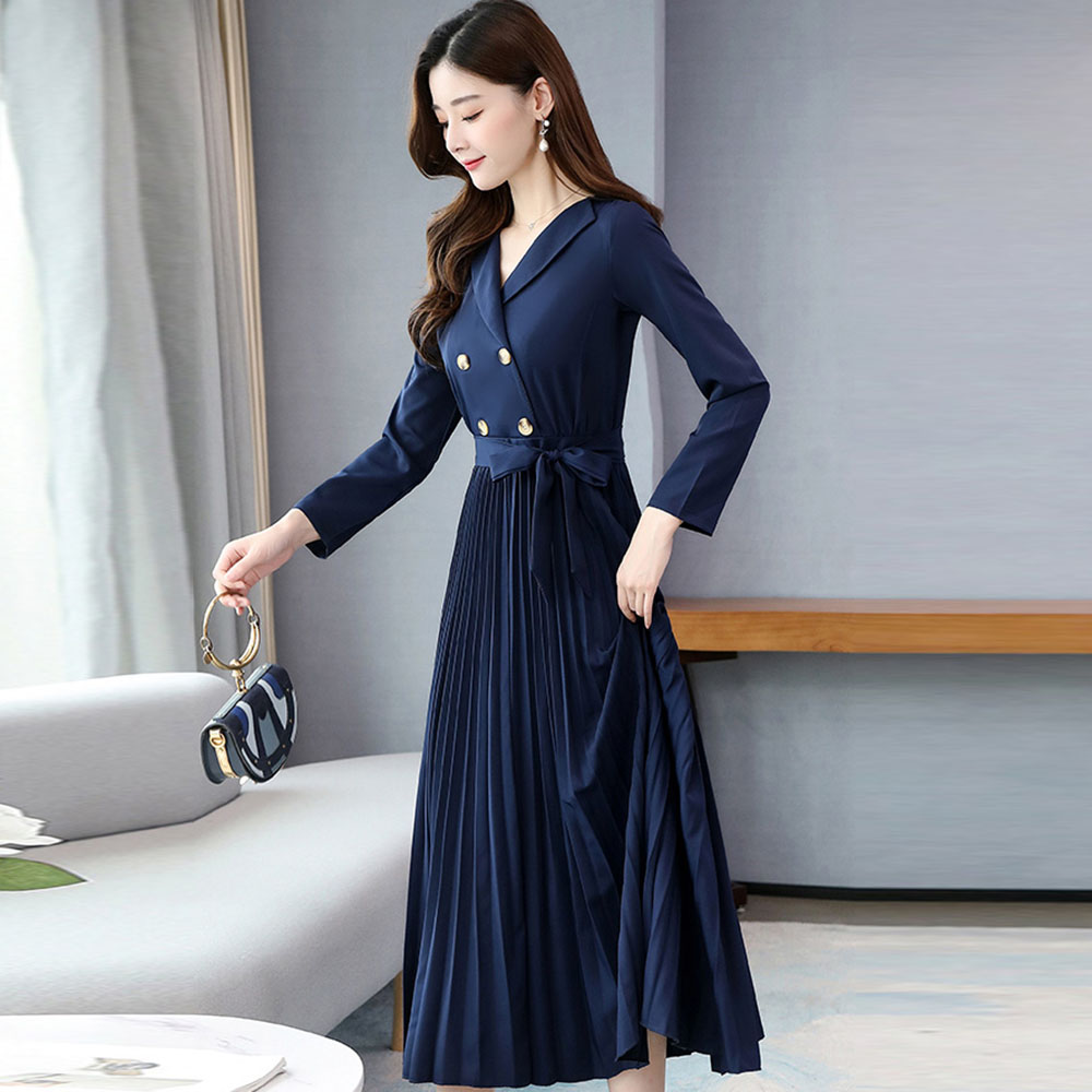Office Ladies Party Pleated Dress Elegant Women Belt Aline Royal Blue Fashion Work Wear Midi Dresses Female Vestidos Spring 2020