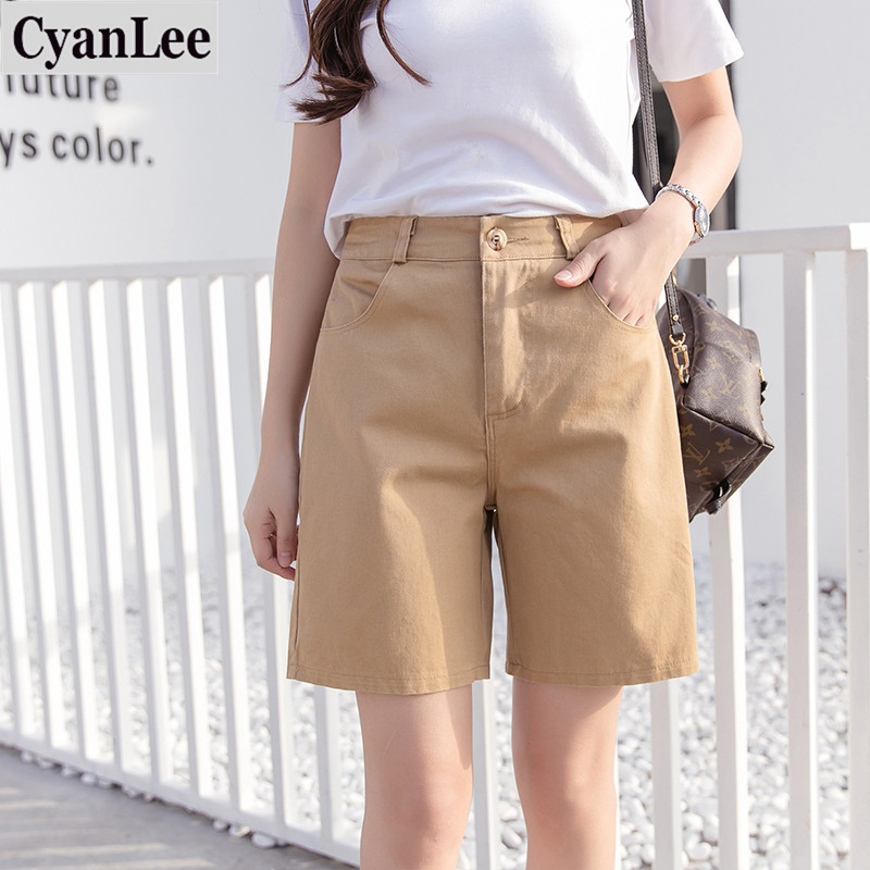 Cyanlee 2020 Summer Woman Casual Shorts Loose Wide Leg Short Solid Color 5 Color Candy All-Purpose Style Office Lady Shorts