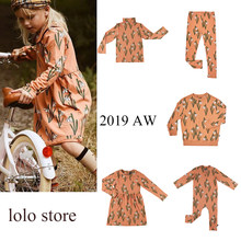 Pre-sale Kids Clothing Sets 2019 New Mini Boys Long Sleeve T-shirt+baby Girls Cartoon Leaf Pants Cotton Round Neck Dress 1-10 Y(China)