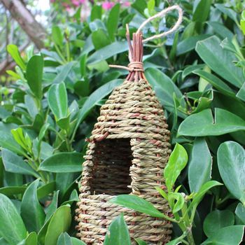 Hanging Bird House Natural Fiber - Finch Bird Nest  - Durable - Breathable - Eco-Friendly 2
