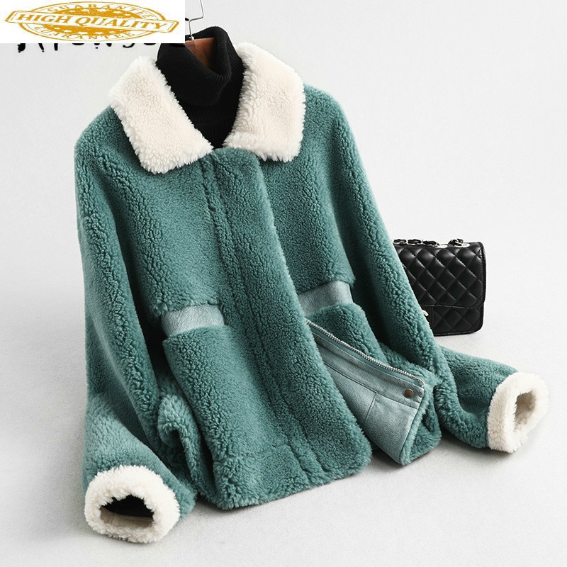 Real Fur Coat Women Sheep Shearling Winter Coat Women Real Fur Jacket Korean Wool Jacket Warm Coat Manteau Femme KQN59370 YY1589