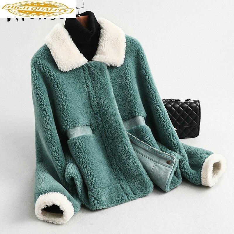 Real Fur Coat Women Sheep Shearling Winter Coat Women Real Fur Jacket Korean Wool Jacket Warm Coat Manteau Femme KQN59370 YY1589