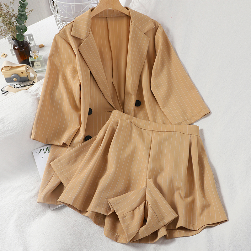 Two-Piece Suit  Women Elegant Double-breasted Three-Quarter Sleeve Jacket Top + Half Elastic High Waist Wide