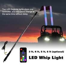 3FT/4FT/5FT/6FT LED fouet lumière RGB 9-32V DC étanche télécommande RGB lampe Ultra lumineux mât lampe avec drapeau pour Jeep