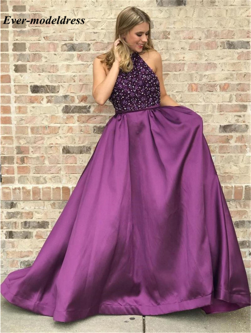 Luxury Beaded   Prom     Dresses   2019 Halter Sleeveless Sequined Zipper Back A-Line Formal Graduation Party Gowns vestido gala