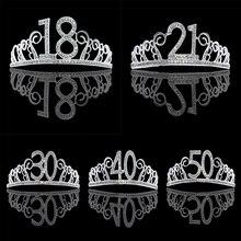 Украшения для дня рождения, тиара со стразами для взрослых, 18, 21, 30, 40, 50, 60, Женская корона, аксессуары для волос