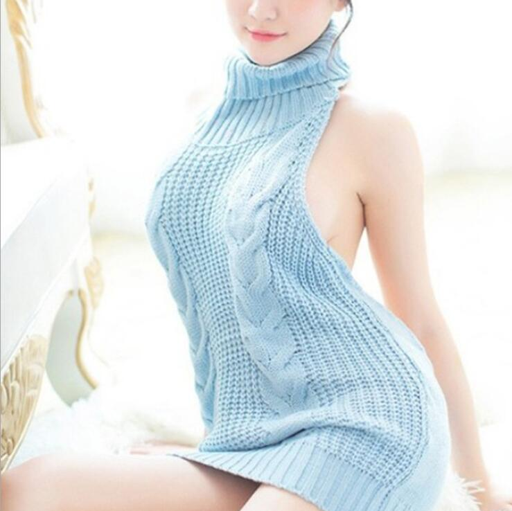 2020 Summer New Turtleneck Sleeveless Long Virgin Killer Sweater Japanes Knitted Sexy Backless Women Sweaters And Pullovers 7