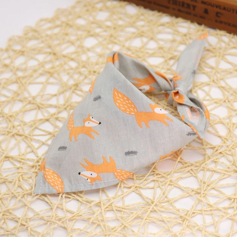 Dog Bandana Adjustable Fox Owl Footprints Pet Dog Puppy Cat Neck Scarf Bowtie Necktie Collar Neckerchief Dog Accessories