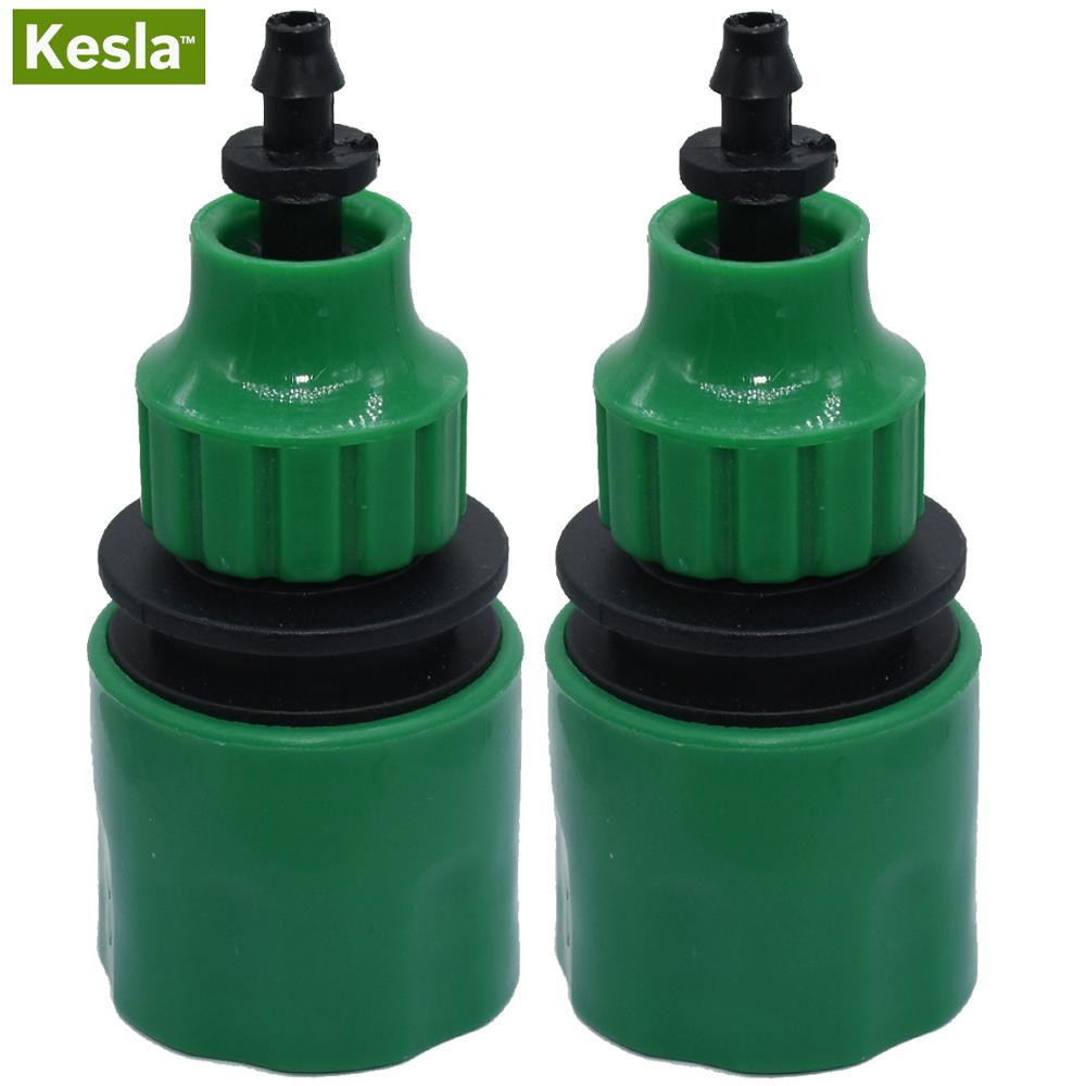 KESLA 2PCS Quick Coupling Adapter With 1/4 (ID 4mm) Or 3/8'' (8mm) Barbed Connector For Irrigation Garden Watering Greenhouse