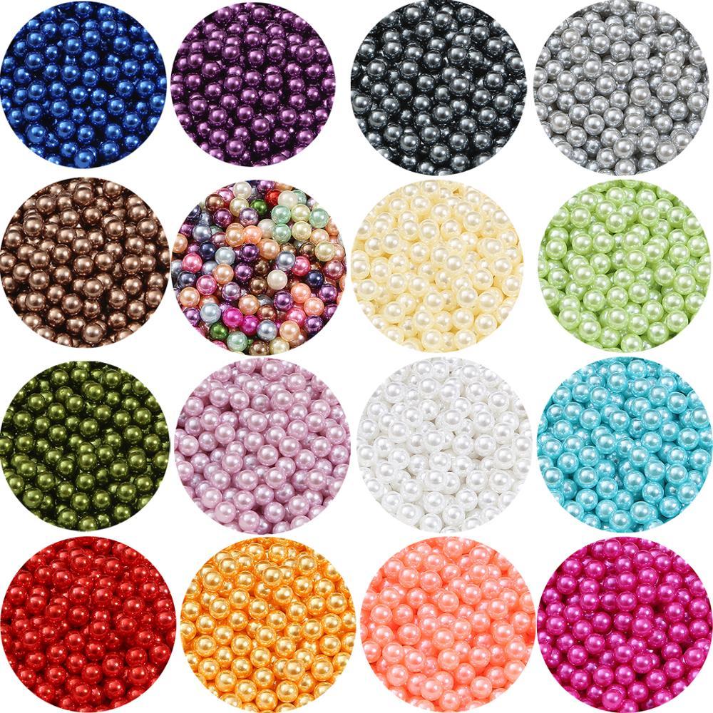 3/4/6/8/10MM pas de trou acrylique perles dimitation rondes perles en vrac pour la fabrication de bijoux artisanat album à faire soi-même décoration