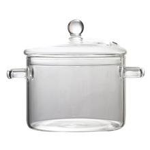 Przezroczyste kuchenka podgrzewane szkło miska makaron zupa szklany garnek z pokrywką (1350ML) tanie tanio AE (pochodzenie) Other NONE Jednorazowe 1l glass pot for noodles stovetop glass soup pot heat-resistant glass pot glass cookware